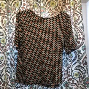 Black and red patterned blouse